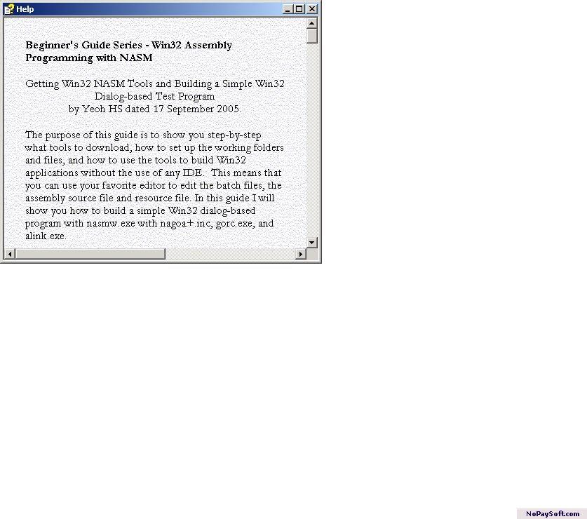 Win32 NASM Guide #1 1.0 program screenshot