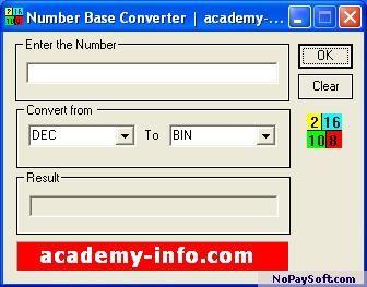 Free Number Base Converter 2.0 program screenshot