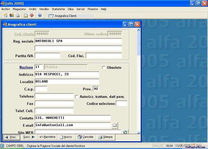 Alfa2000 3.0 program screenshot