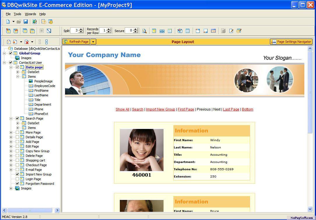 dbQwikSite PE 4.2 program screenshot
