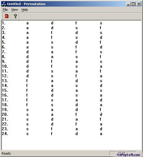 Free Permutation Program 1.0 program screenshot