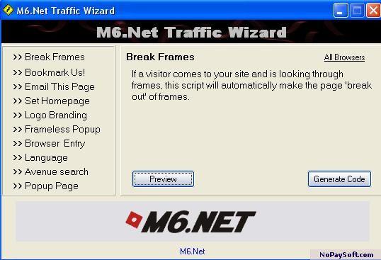 M6.Net Traffic Wizard 1.00 program screenshot