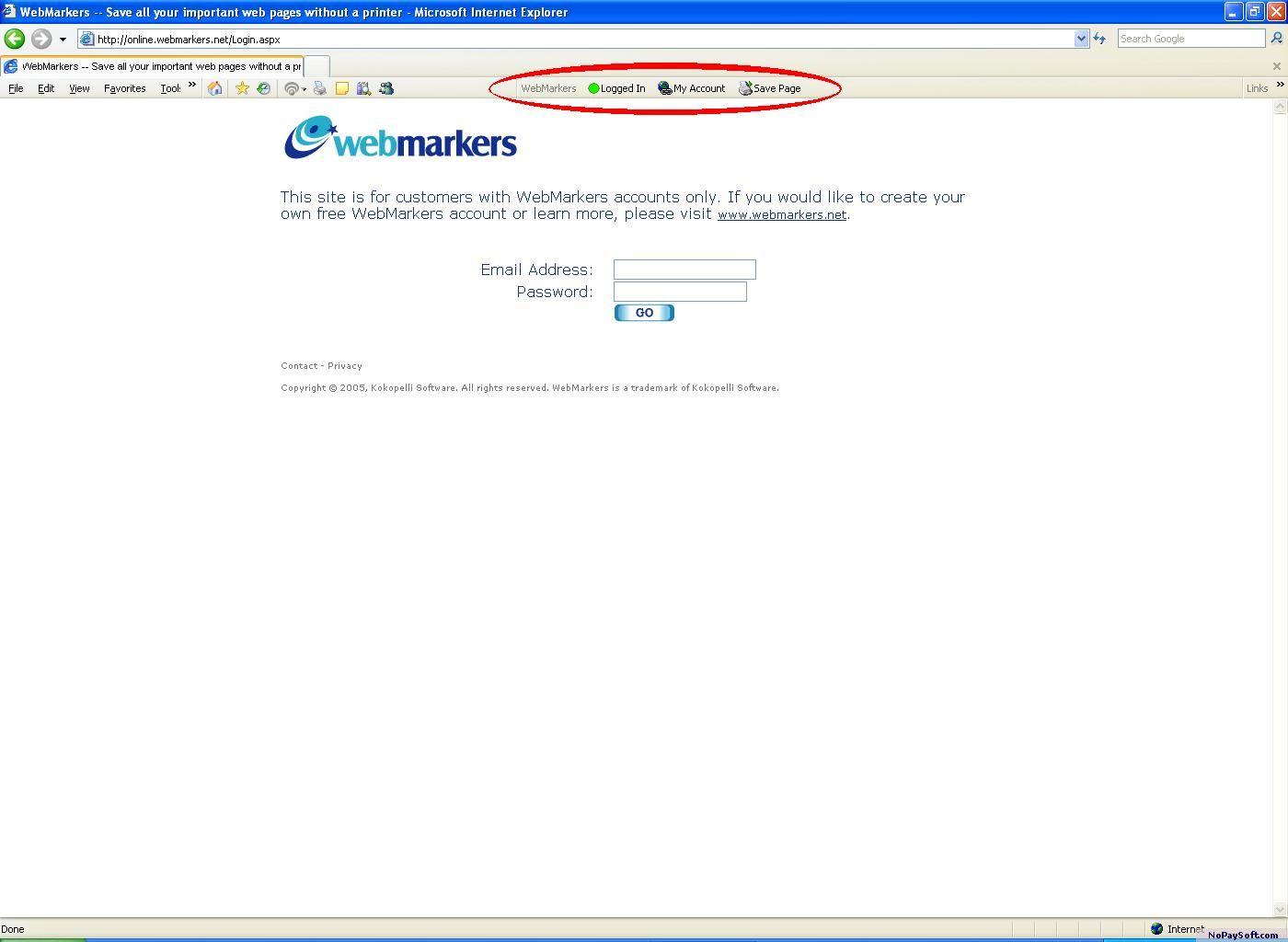 WebMarkers 1.0 program screenshot