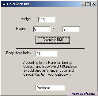 Body Mass Index Calculator 1.1 program screenshot