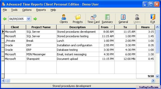 Advanced Time Reports Personal 7.5.135 program screenshot