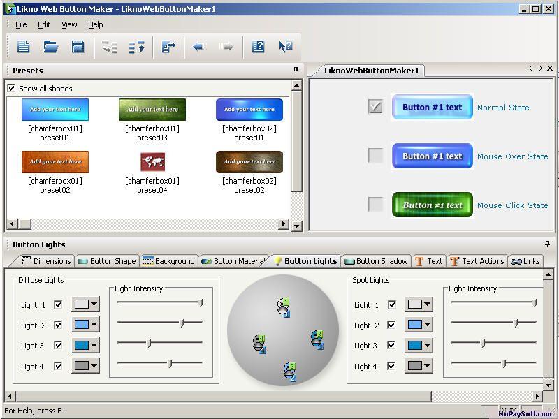 Likno Web Button Maker Free 1.4 program screenshot