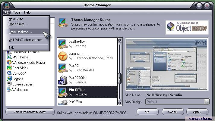 Theme Manager 2.2 program screenshot