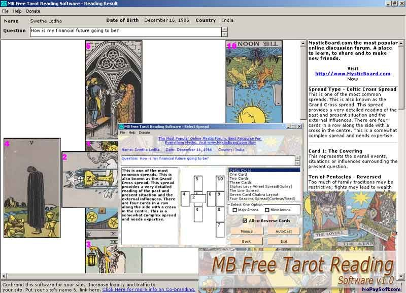 MB Free Tarot Reading Software 1.0a program screenshot