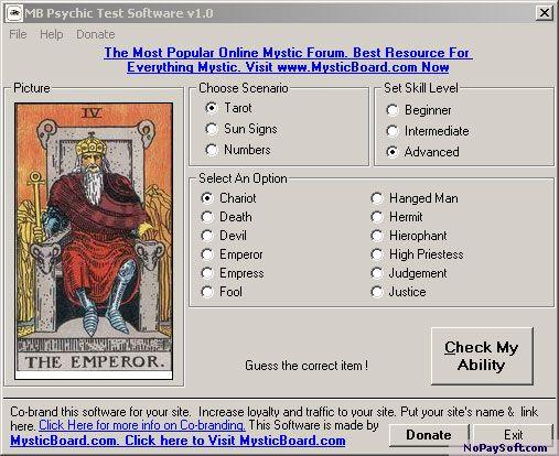 MB Free Psychic Test Software 1.20 program screenshot
