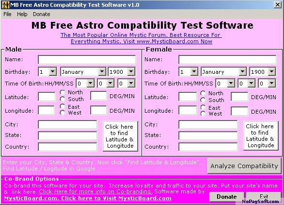 MB Free Astro Compatibility Test Software 1.50 program screenshot