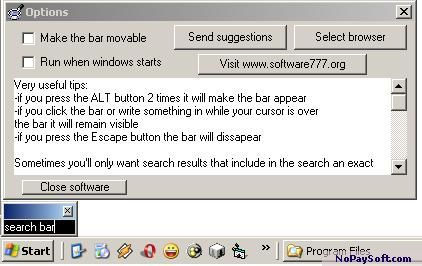 Msn Simple Search Bar 1.0 program screenshot