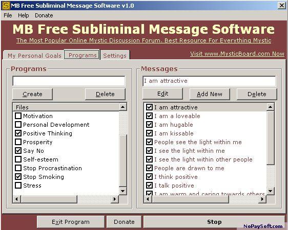 MB Free Subliminal Message Software 1.0 program screenshot