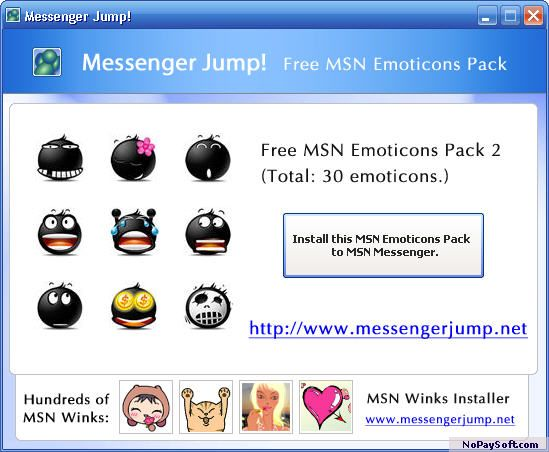 MsgJump Free MSN Emoticons Pack 2 A program screenshot
