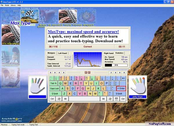 MaxType LITE Typing Tutor 1.6.14 program screenshot