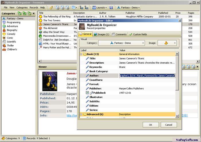 MyBookLib Organizer 1.08 program screenshot