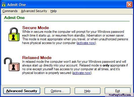 Admit One R2684 program screenshot