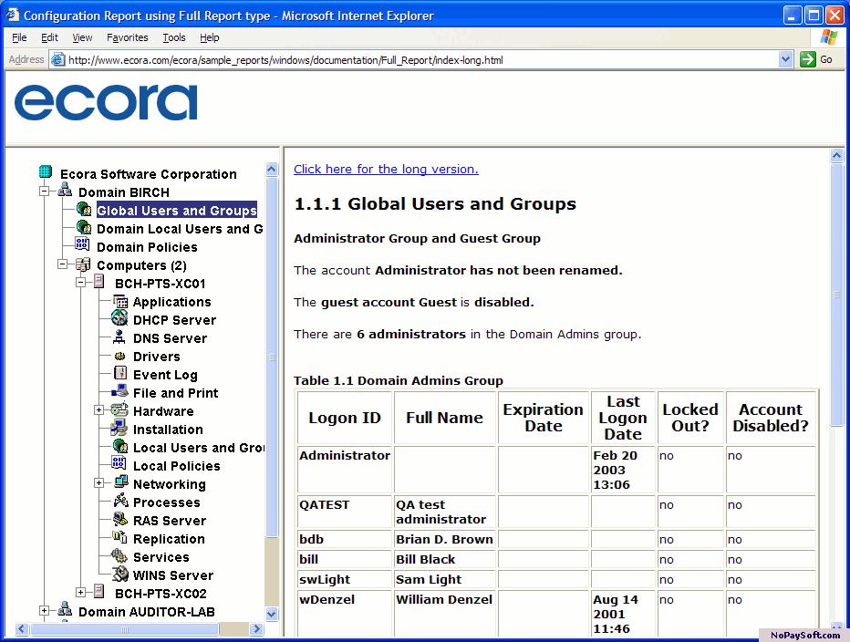 Ecora Auditor Lite for Windows 4.0.6157.1 program screenshot