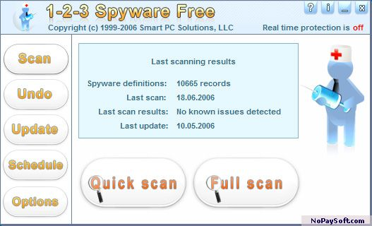 1-2-3 Spyware Free 4.2 program screenshot