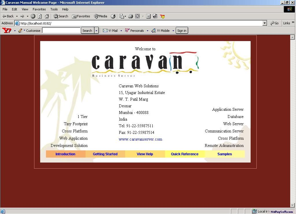 Caravan Business Server for Microsoft 3.15-03D program screenshot