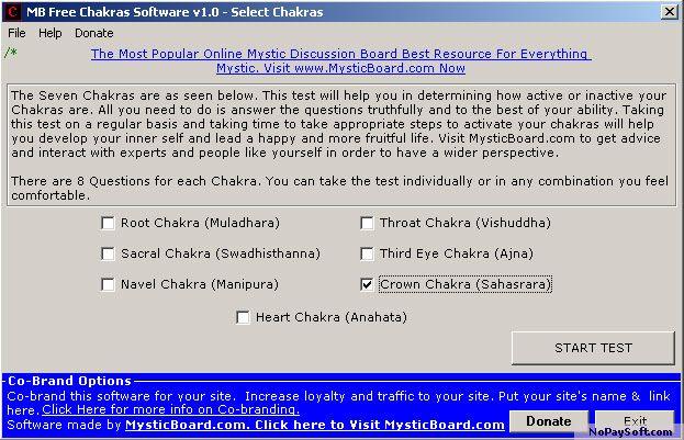 MB Free Chakras Software 1.0 program screenshot