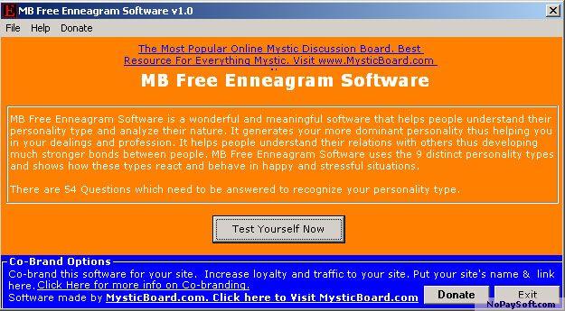 MB Free Enneagram Software 1.0 program screenshot