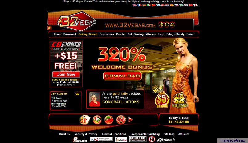 32Vegas Casino 4.2 program screenshot