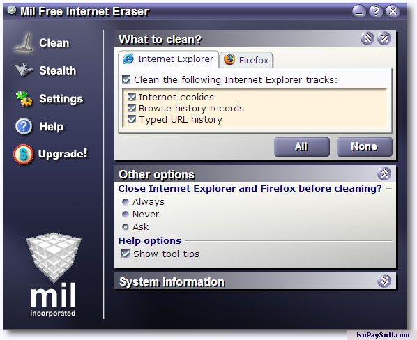 Mil Free Internet Eraser 2.0 program screenshot