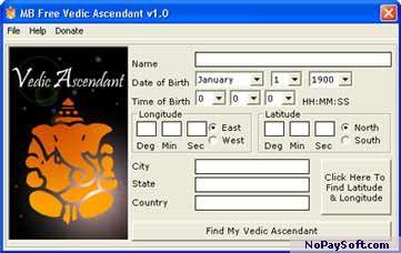 MB Free Vedic Ascendant 1.0 program screenshot