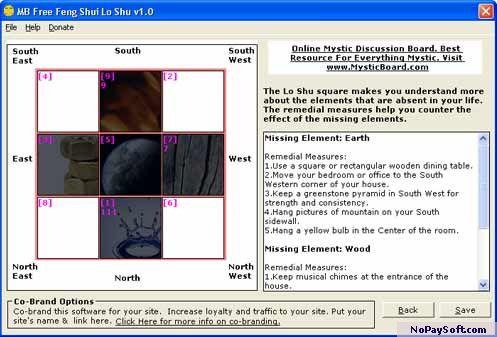MB Free Feng Shui Lo Shu 1.0 program screenshot