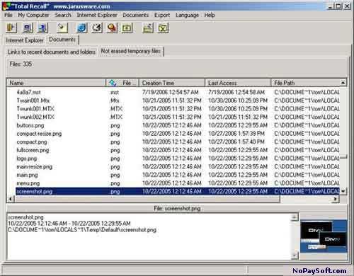 TotalRecall 1.1 program screenshot