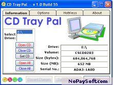 CD Tray Pal 1.0.55 program screenshot