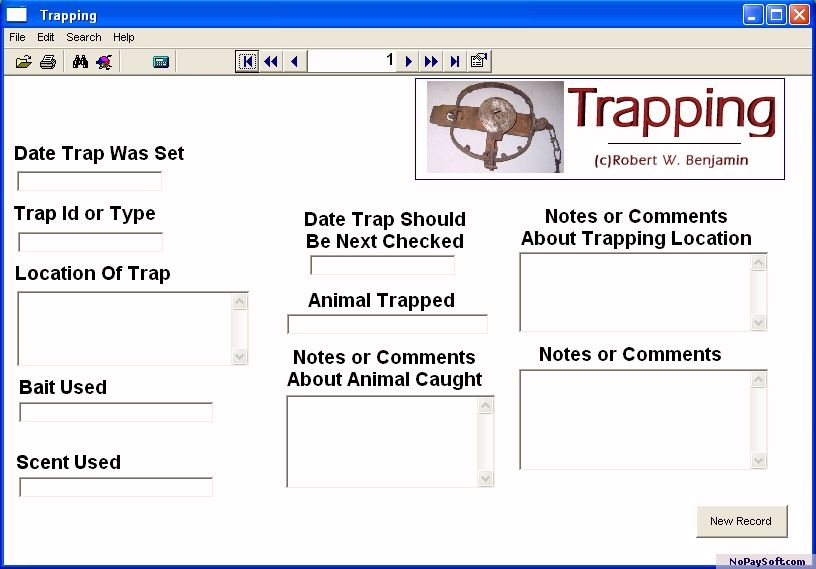 Trapping 1.0 program screenshot