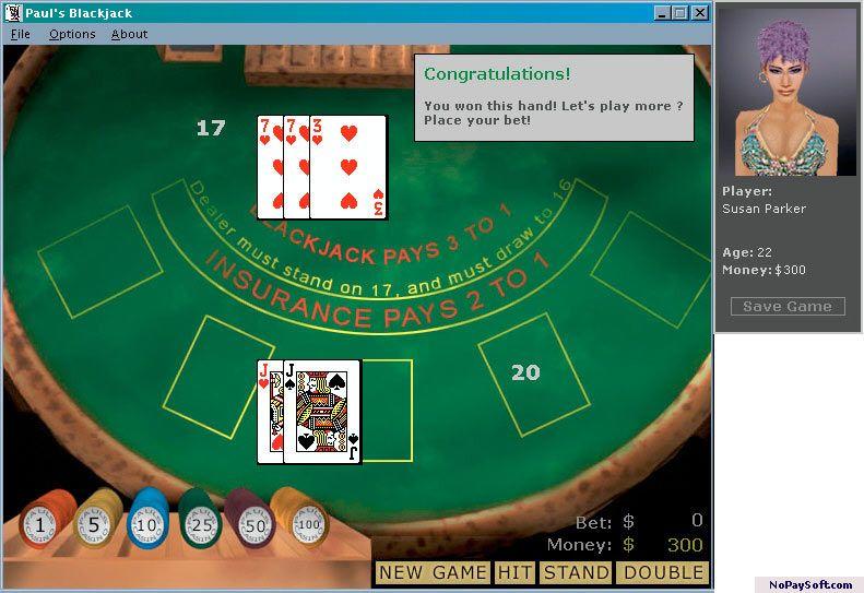 Paul's Blackjack 1.4 program screenshot