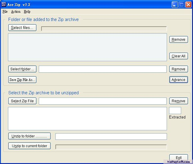 Ace Zip 3.2 program screenshot