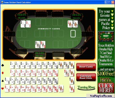 Texas Holdem Hand Calculator 1.0 program screenshot
