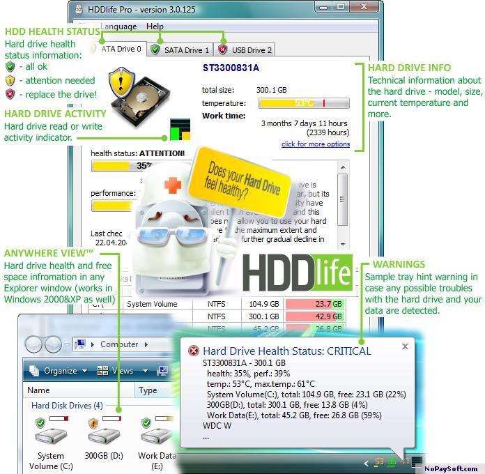 HDDlife 2.8.99 program screenshot
