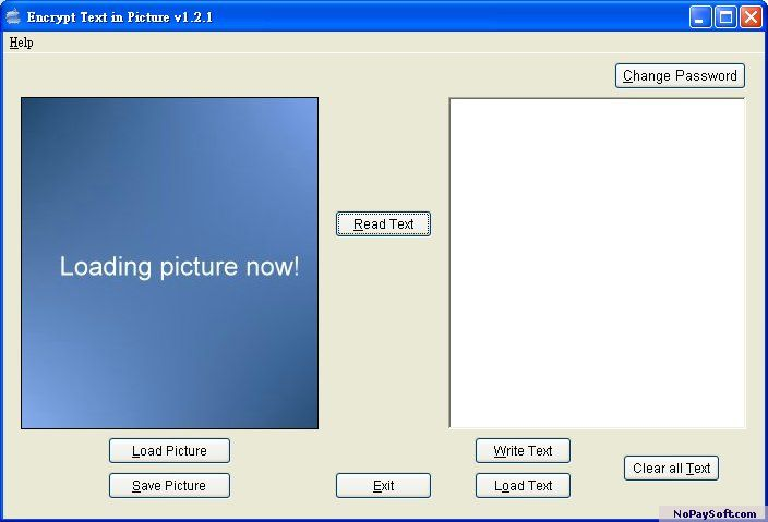 Encrypt Text in Picture 1.2.1 program screenshot