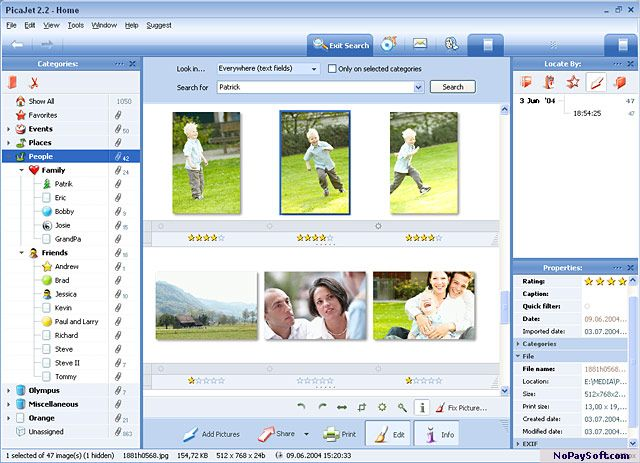 PicaJet Photo Organizer 2.5.0.477 program screenshot