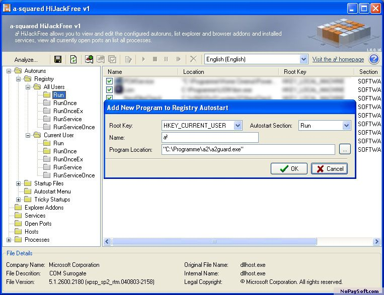 a-squared (a2) HiJackFree 1.0 program screenshot