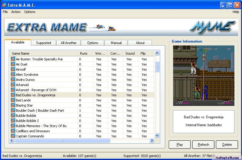 Extra MAME 1.5 program screenshot