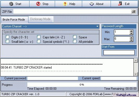 TURBO ZIP CRACKER 0.1.2 program screenshot