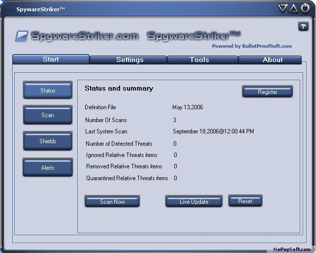 Spyware Striker 9.2.0.6 program screenshot