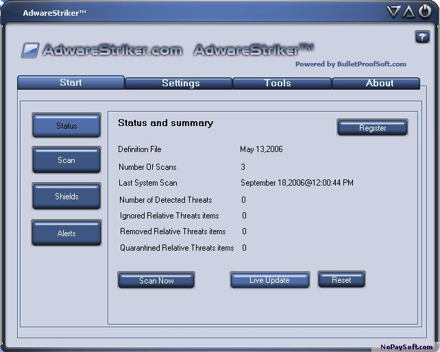 Adware Striker 9.2.0.6 program screenshot