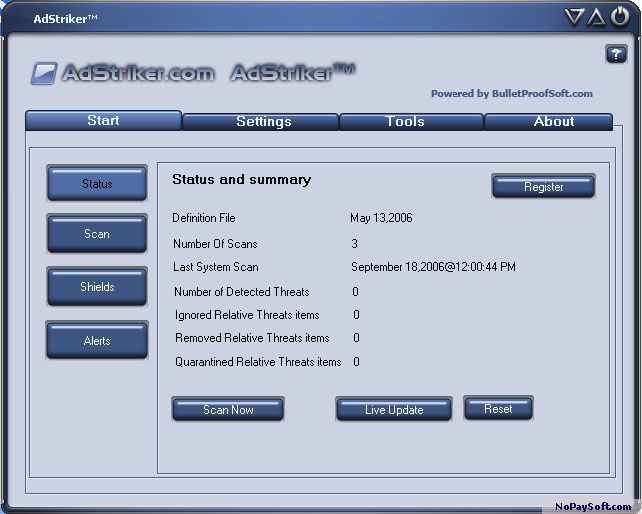 Ad Striker 9.2.0.6 program screenshot