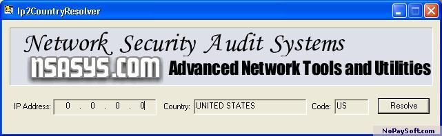 Ip2CountryResolver 1.1 program screenshot