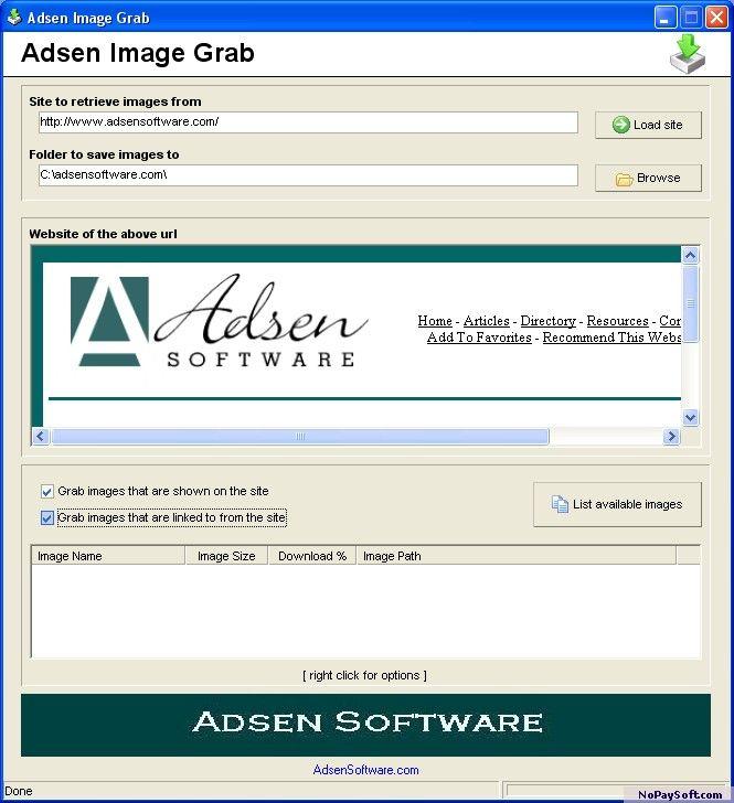 Adsen Image Grab 1.0 program screenshot
