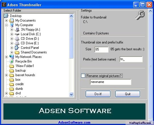 Adsen Thumbnailer 1.0 program screenshot
