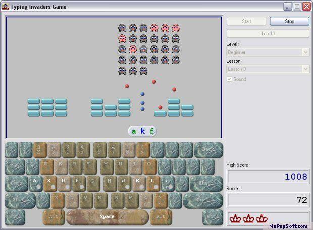 Typing Invaders 6.0 program screenshot