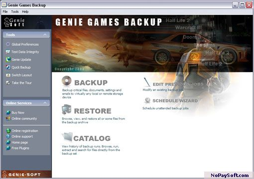 Genie Games Backup 6.0 program screenshot
